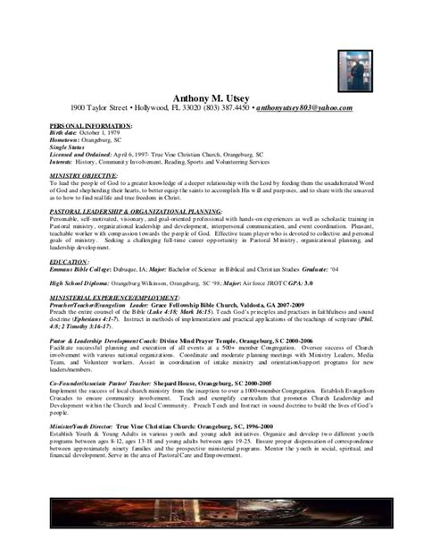 anthony m utsey s pastoral resume updated 7 5 2015 1