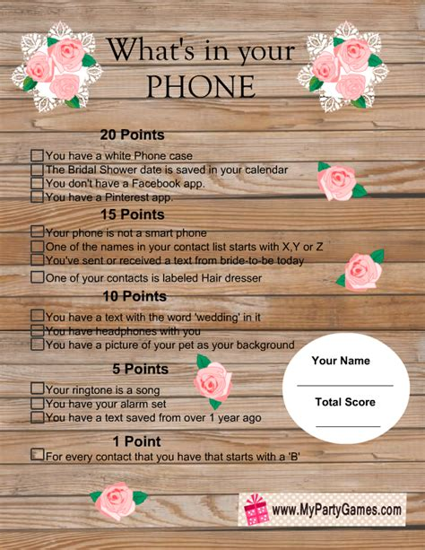 what s in your phone bridal shower game