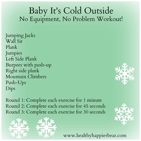 baby it s cold outside no equipment workout my healthy