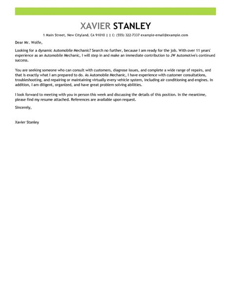 Motorcycle Mechanic Cover Letter Cover Letter by Best Mechanic Cover Letter Exles Livecareer