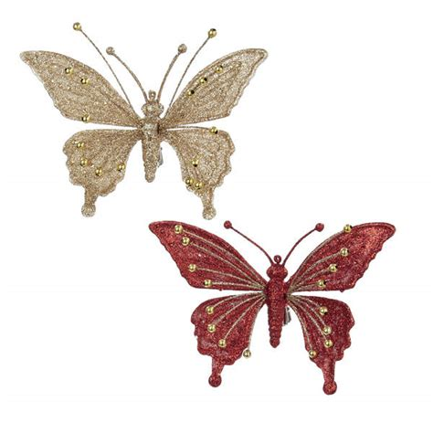 glittered butterfly clip ornament item 103030 the