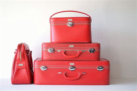 gorgeous red suitcases vintage amelia earhart red luggage set suitcase carry on
