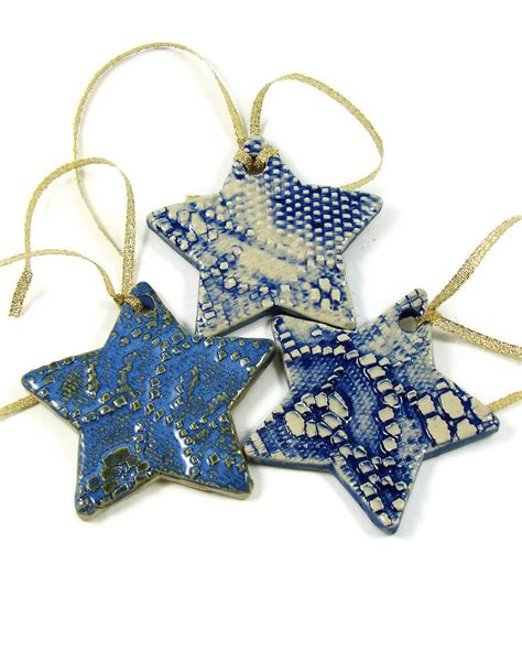 3 ceramic christmas ornaments clay handmade stoneware