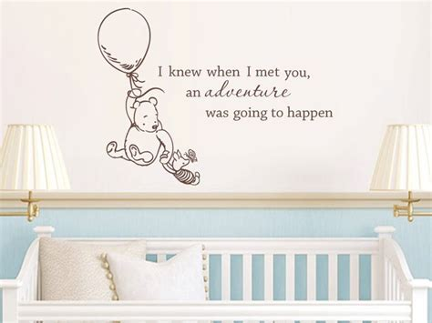 classic winnie the pooh wall stickers classic winnie the pooh i knew when i met you an adventure was going to happen baby quote vinyl