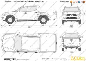 Mitsubishi L200 Dimensions The Blueprints Vector Drawing Mitsubishi L200