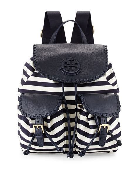 awning cls tory burch marion striped nylon backpack in multicolor