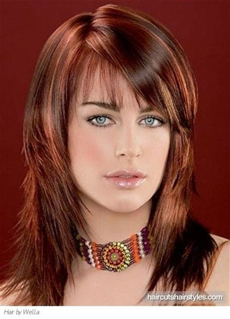 hairstyles add black with bluesh tones to dark brown hair long hairstyle highlights two tone brown red funky long