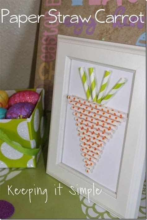 paper straw carrot from keeping it simple easter crafts