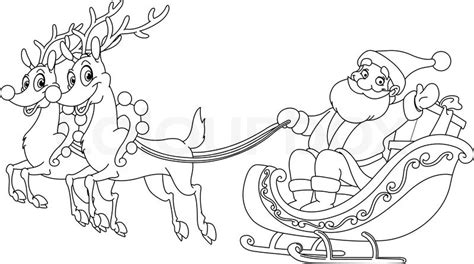 coloring pages of santa sleigh best photos of santa sleigh and reindeer coloring page