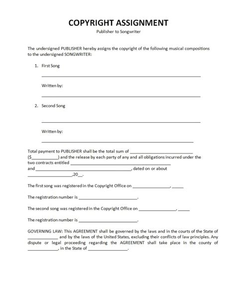 copyright agreement template copyright contract template 28 images sle assignment