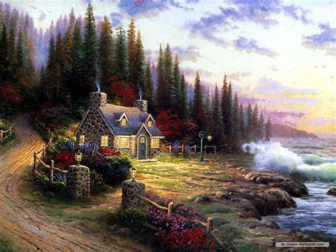 kinkade cottage painting free kinkade wallpapers for desktop wallpaper cave