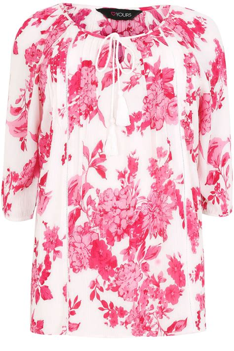 24908 White Pink Flower Size L white pink floral blouse with sequin detail plus size