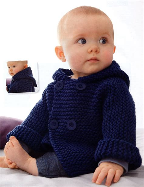 baby knitted hooded jacket free patterns garter stitch one knitting patterns in the loop