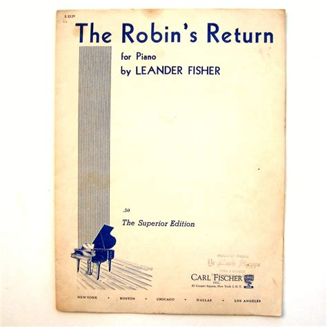 the robins return by leander fisher 1926 sheet music