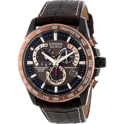 mens eco drive perpetual chrono a t black at4006 06x