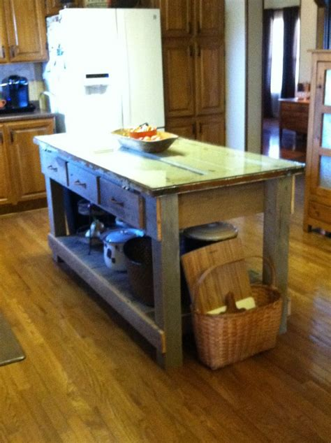 Pallet Kitchen Island Kitchen Island Made From Barn Wood Pallet Wood And My Grandmothers Door Thanks To My