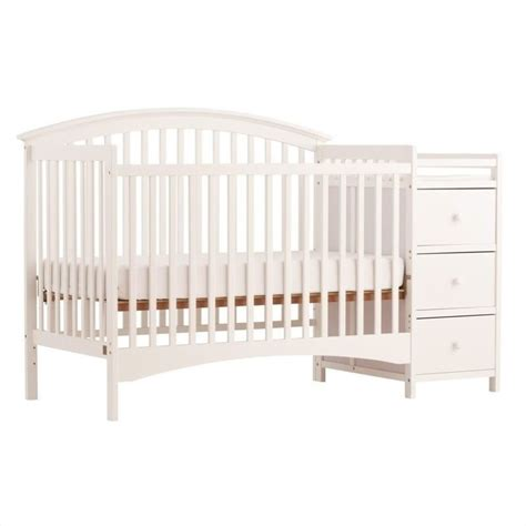 4 In 1 Fixed Side Convertible White Crib Changer 04586 351 Baby Cribs With Changer