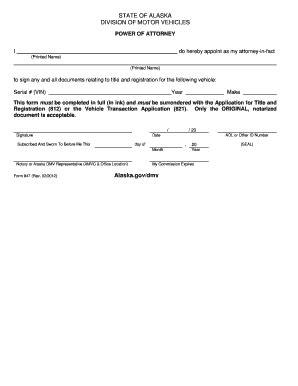 alaska motor vehicles bill of sale form alaska motor vehicle power of attorney