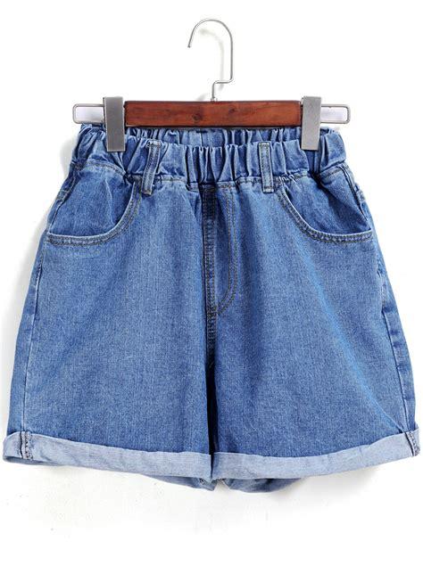 Waist Shorts blue elastic waist flange denim shorts shein sheinside
