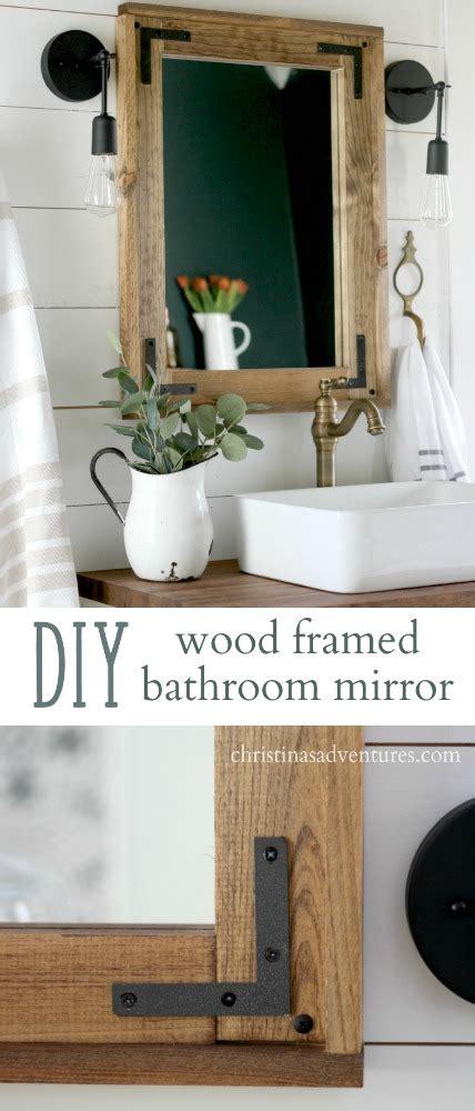 Diy Framed Mirrors For Bathroom by Diy Wood Framed Bathroom Mirror Christinas Adventures