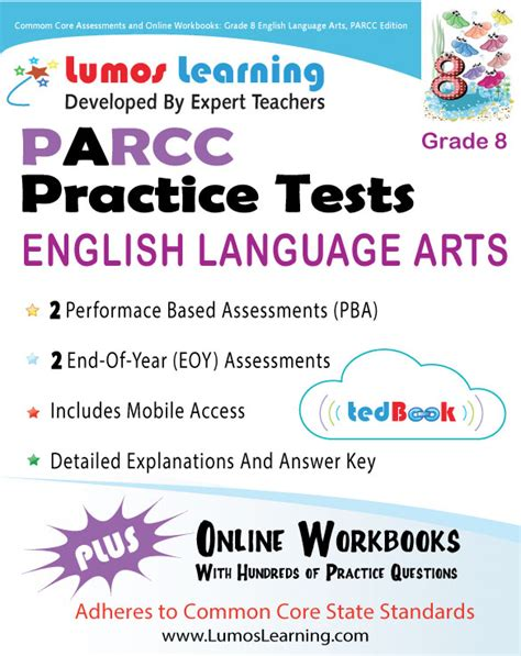 parcc test prep grade 7 language arts literacy ela practice workbook and length assessments parcc study guide books new jersey parcc lumos learning