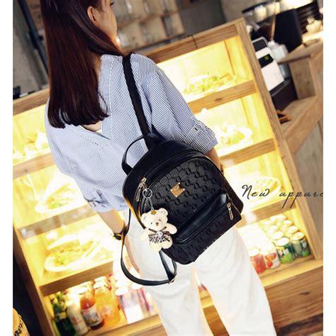 Tas Ransel 1 2 tas ransel fashion wanita bag in bag 4 in 1 black