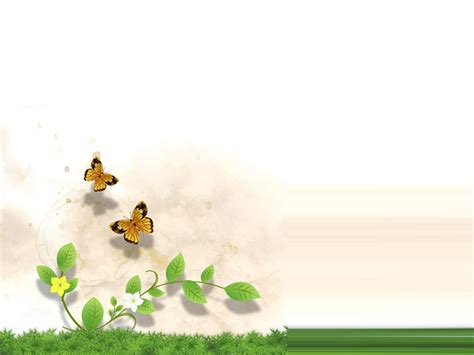 grass and flower with butterfly ppt backgrounds grass and
