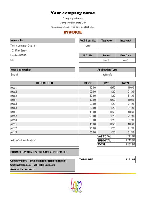7 best images of form invoice template free word invoice