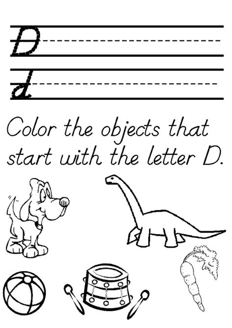 color the objects that start with the letter d preschool