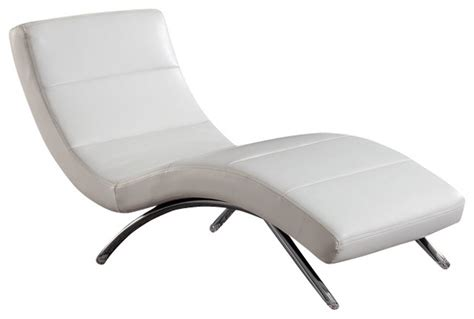 White Leather Chaise Lounge Chair r820 white bonded leather lounge chaise chair contemporary outdoor chaise lounges by new