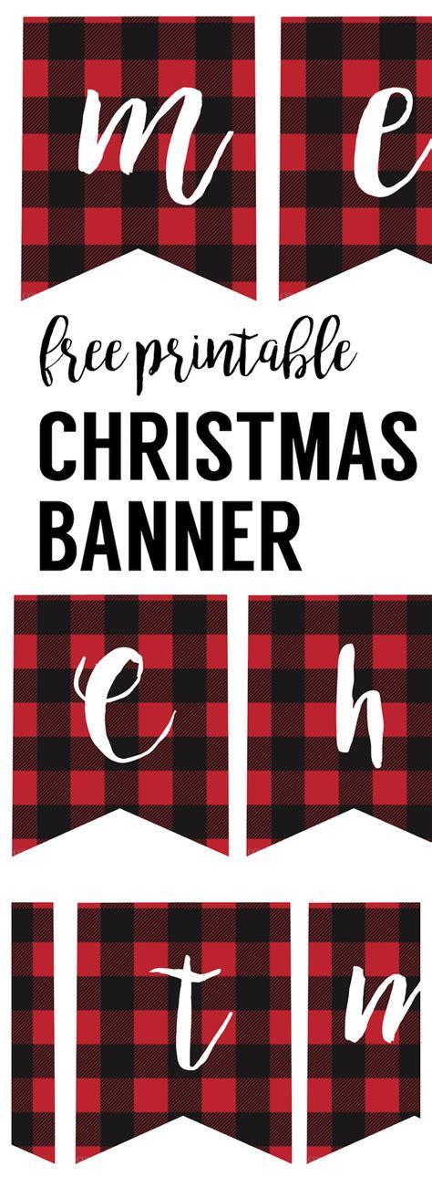 printable merry christmas banner paper trail design