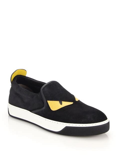 fendi sneakers fendi slip on sneakers in black black yellow lyst
