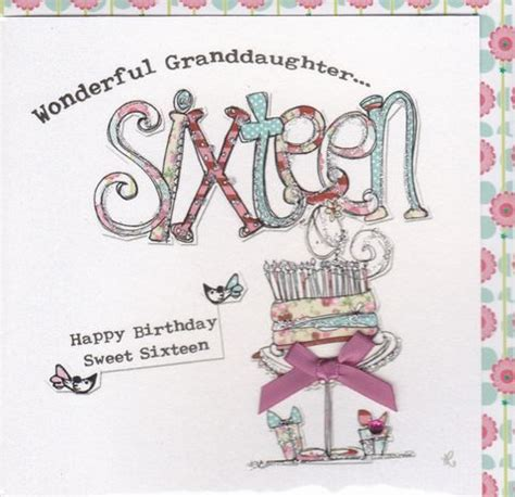 Granddaughter 16th Birthday Cards Hand Finished Granddaughter 16th Birthday Card