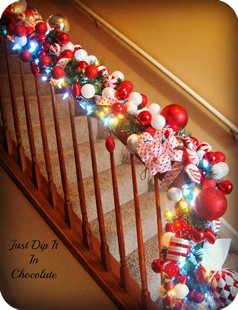 christmas lights for stair banisters christmas banister decorations