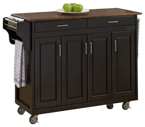 black kitchen island cart home styles create a cart in black finish with cherry top transitional kitchen islands and