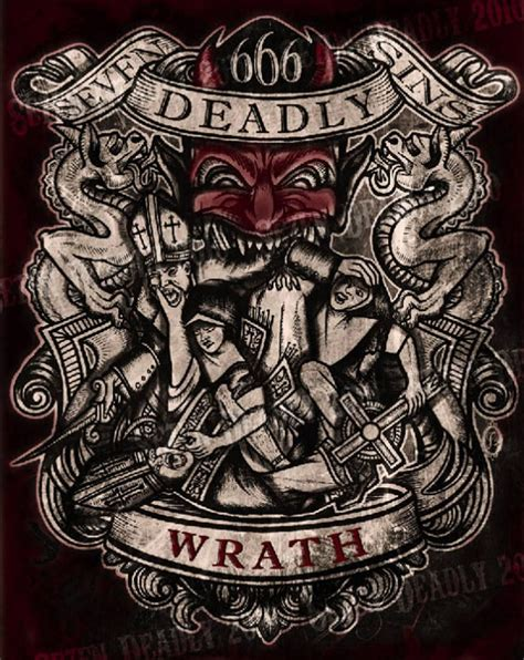 7 sins tattoo se7en deadly deadly wrath print 11x14