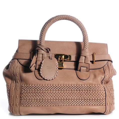 Best Handmade Leather Bags - gucci leather handmade large top handle bag taupe 80691
