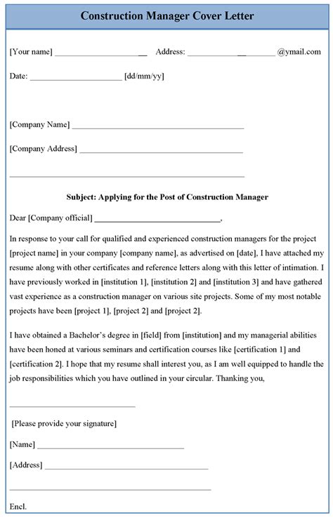 construction manager cover letter template sle templates