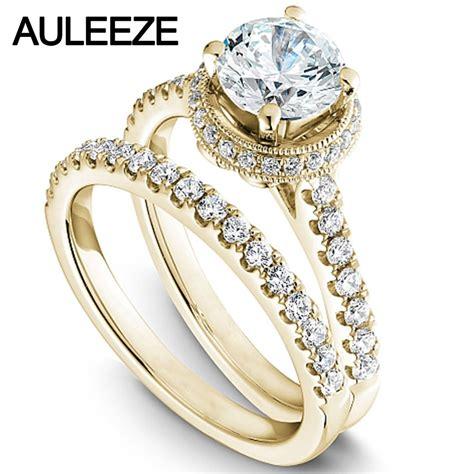 modern halo round 1 carat moissanites bride wedding ring
