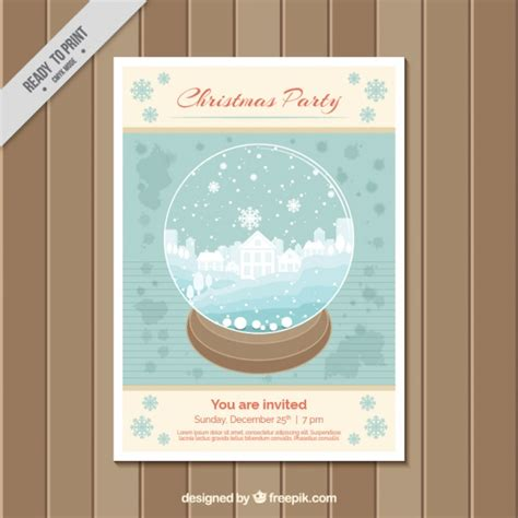 Kostenlose Vorlage Weihnachtsfeier Weihnachtsfeier Brosch 252 Re Vorlage Mit Einem Schneeball Der Kostenlosen Vektor