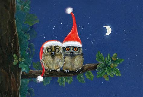 images of christmas owls two little owls with christmas caps painting by marina durante