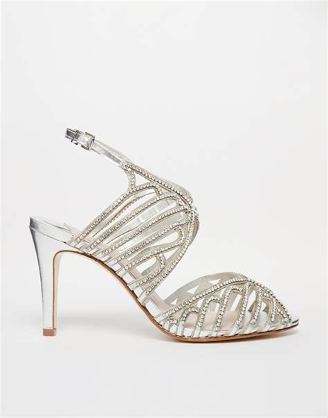 Faiths Heels by Lyst Faith Lombassy Silver Encrusted Heeled Sandals In