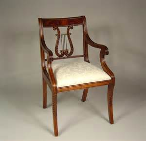 antique harp chair lyre back dining room chairs solid mahogany schmieg