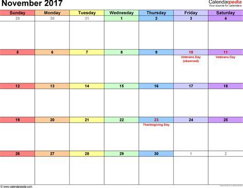 Calendar 2017 November And December Excel November 2017 Calendars For Word Excel Pdf