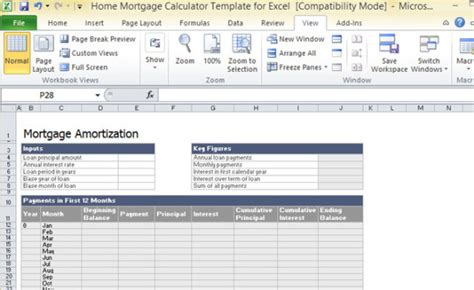 excel mortgage template home mortgage calculator template for excel