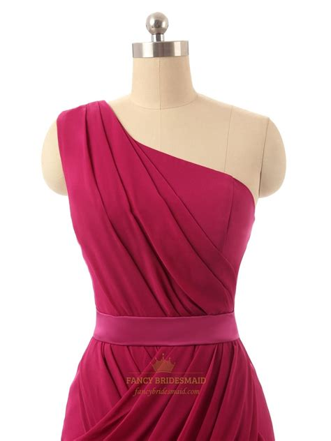 burgundy one shoulder chiffon ruched bodice cocktail