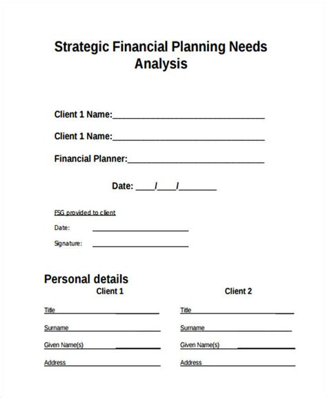 financial needs analysis template free financial needs analysis template free free