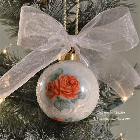 porcelain victorian christmas ornament romantic red roses