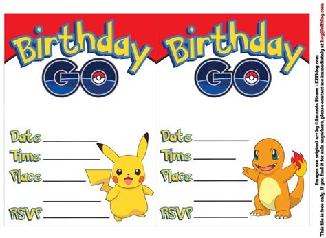 pikachu birthday card template 17 best images about printables on