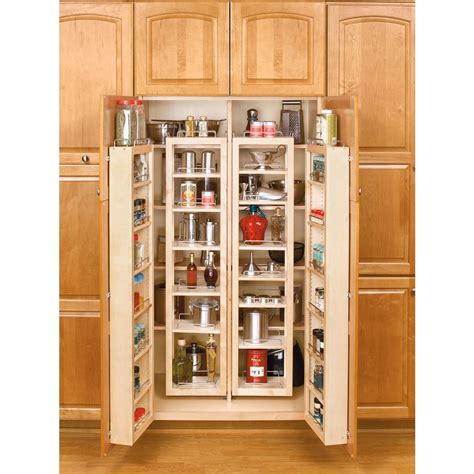 kitchen cabinet organizers home depot rev a shelf 57 in h x 12 in w x 7 5 in d wood swing out cabinet pantry kit 4wp18 57 kit the